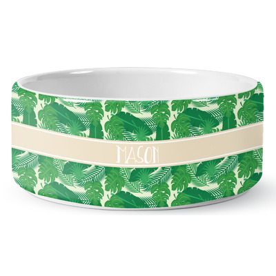 Tropical Leaves 2 Ceramic Dog Bowl (Personalized)