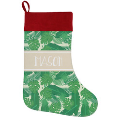 Tropical Leaves #2 Holiday Stocking w/ Name or Text