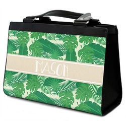 Tropical Leaves 2 Classic Tote Purse w/ Leather Trim (Personalized)