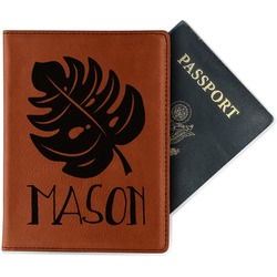Tropical Leaves 2 Leatherette Passport Holder (Personalized)