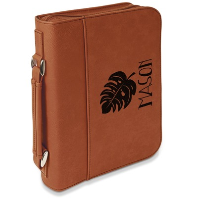 Tropical Leaves 2 Leatherette Book / Bible Cover with Handle & Zipper (Personalized)