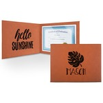 Tropical Leaves #2 Leatherette Certificate Holder (Personalized)