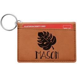 Tropical Leaves 2 Leatherette Keychain ID Holder (Personalized)