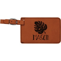 Tropical Leaves 2 Leatherette Luggage Tag (Personalized)
