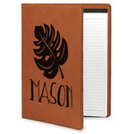 Tropical Leaves 2 Leatherette Portfolio with Notepad (Personalized)