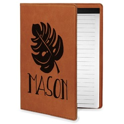 Tropical Leaves 2 Leatherette Portfolio with Notepad - Small - Single Sided (Personalized)