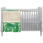 Tropical Leaves #2 Crib Comforter / Quilt w/ Name or Text