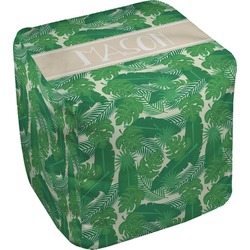 """Tropical Leaves 2 Cube Pouf Ottoman - 18"""" (Personalized)"""