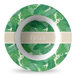 Tropical Leaves #2 Plastic Bowl - Microwave Safe - Composite Polymer (Personalized)