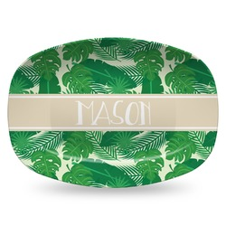 Tropical Leaves 2 Plastic Platter - Microwave & Oven Safe Composite Polymer (Personalized)