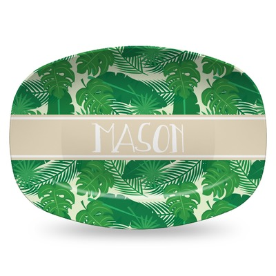 Tropical Leaves #2 Plastic Platter - Microwave & Oven Safe Composite Polymer (Personalized)