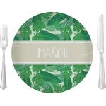 "Tropical Leaves 2 Glass Lunch / Dinner Plates 10"" - Single or Set (Personalized)"