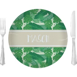 "Tropical Leaves 2 10"" Glass Lunch / Dinner Plates - Single or Set (Personalized)"