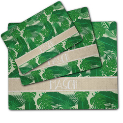 Tropical Leaves #2 Dog Food Mat w/ Name or Text