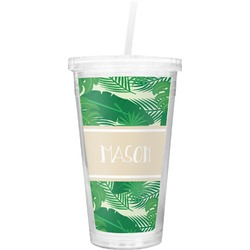 Tropical Leaves #2 Double Wall Tumbler with Straw (Personalized)