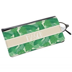 Tropical Leaves 2 Genuine Leather Eyeglass Case (Personalized)