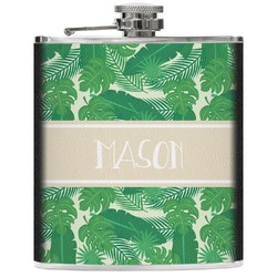 Tropical Leaves 2 Genuine Leather Flask (Personalized)