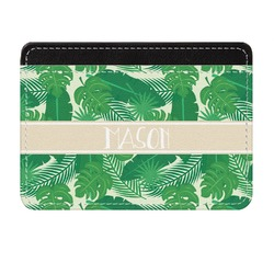 Tropical Leaves 2 Genuine Leather Front Pocket Wallet (Personalized)