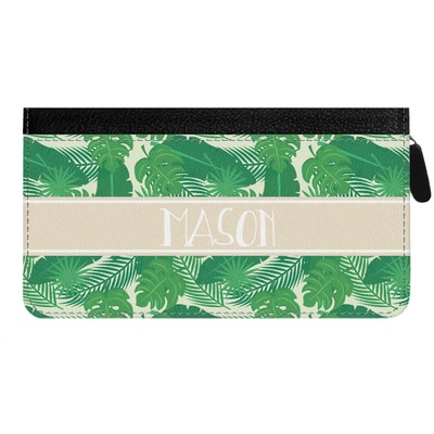 Tropical Leaves #2 Genuine Leather Ladies Zippered Wallet w/ Name or Text