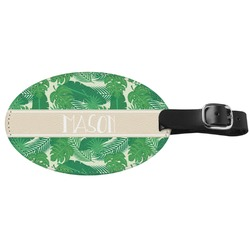 Tropical Leaves 2 Genuine Leather Luggage Tag (Personalized)