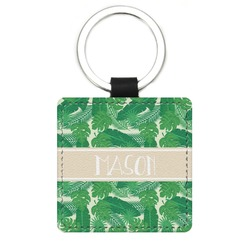 Tropical Leaves 2 Genuine Leather Rectangular Keychain (Personalized)