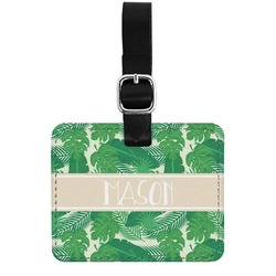 Tropical Leaves 2 Genuine Leather Rectangular  Luggage Tag (Personalized)