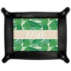 Tropical Leaves #2 Genuine Leather Valet Tray w/ Name or Text