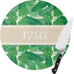 Tropical Leaves 2 Round Glass Cutting Board (Personalized)