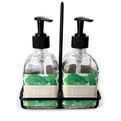 Tropical Leaves 2 Soap & Lotion Dispenser Set (Glass) (Personalized)