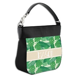 Tropical Leaves 2 Hobo Purse w/ Genuine Leather Trim (Personalized)