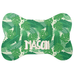 Tropical Leaves 2 Bone Shaped Dog Food Mat (Personalized)