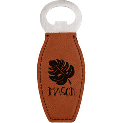 Tropical Leaves #2 Leatherette Bottle Opener (Personalized)