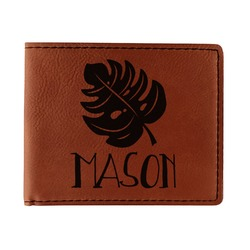 Tropical Leaves 2 Leatherette Bifold Wallet (Personalized)