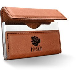 Tropical Leaves 2 Leatherette Business Card Holder (Personalized)