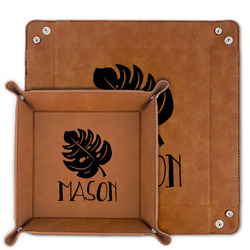 Tropical Leaves #2 Faux Leather Valet Tray (Personalized)