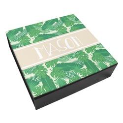 Tropical Leaves 2 Leatherette Keepsake Box - 3 Sizes (Personalized)