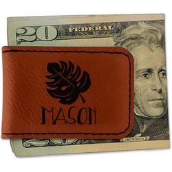 Tropical Leaves #2 Leatherette Magnetic Money Clip (Personalized)