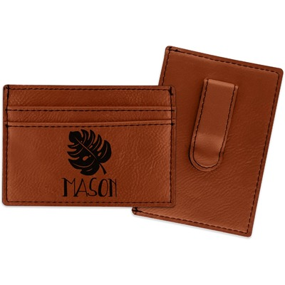 Tropical Leaves #2 Leatherette Wallet with Money Clip (Personalized)