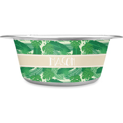 Tropical Leaves #2 Stainless Steel Dog Bowl (Personalized)