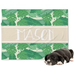 Tropical Leaves 2 Minky Dog Blanket - Large  (Personalized)