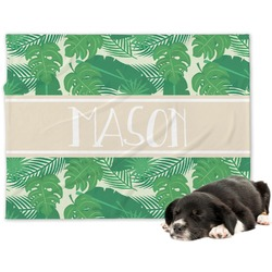 Tropical Leaves 2 Minky Dog Blanket (Personalized)