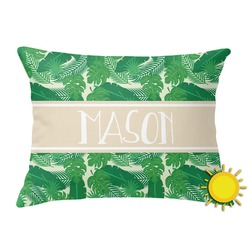 Tropical Leaves #2 Outdoor Throw Pillow (Rectangular) w/ Name or Text