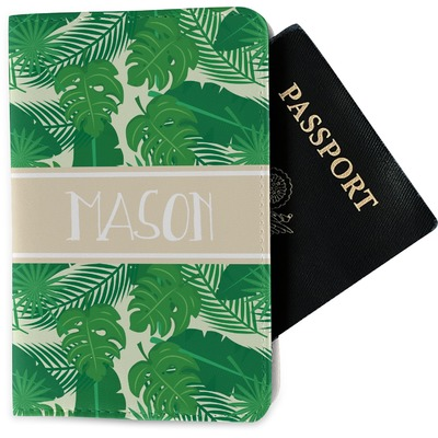 Tropical Leaves #2 Passport Holder - Fabric w/ Name or Text