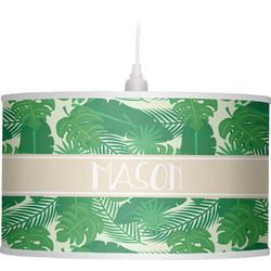 Tropical Leaves #2 Drum Pendant Lamp (Personalized)
