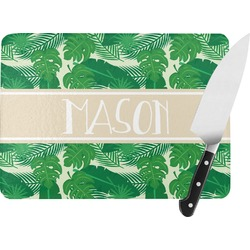 Tropical Leaves #2 Rectangular Glass Cutting Board (Personalized)