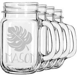 Tropical Leaves 2 Mason Jar Mugs (Set of 4) (Personalized)
