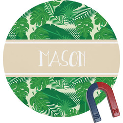 Tropical Leaves #2 Round Fridge Magnet (Personalized)