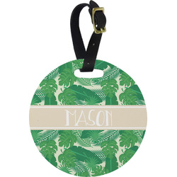 Tropical Leaves 2 Round Luggage Tag (Personalized)