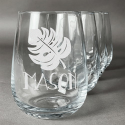 Tropical Leaves #2 Stemless Wine Glasses (Set of 4) (Personalized)