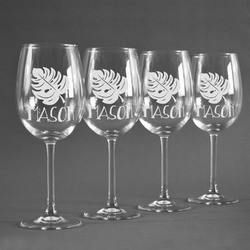 Tropical Leaves 2 Wineglasses (Set of 4) (Personalized)